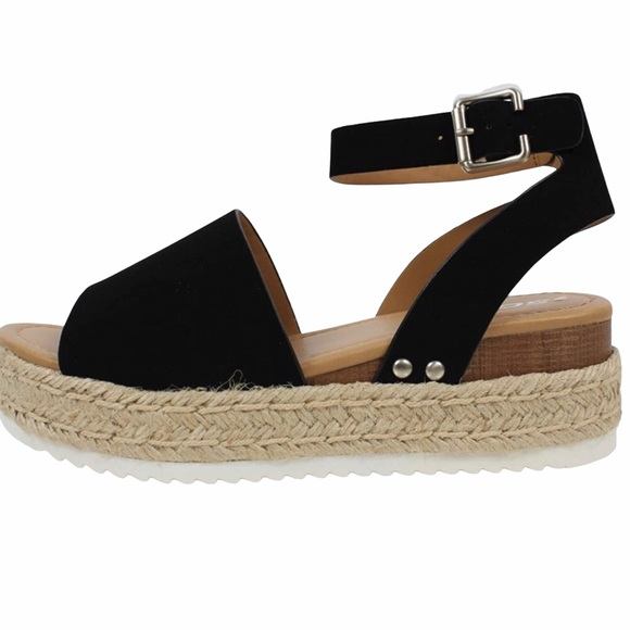 Soda Black Espadrille Sandals